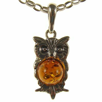 Baltic Amber Sterling Silver 925 Owl Bird Pendant Necklace Chain Jewellery Gift