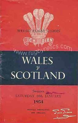 WALES v SCOTLAND 1954 RUGBY PROGRAMME 10 Apr at SWANSEA