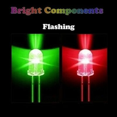 5 x Red / Green Flashing LED 5mm - Ultra Bright - UK - 1st CLASS POST