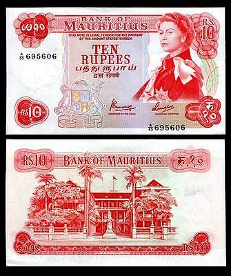 Mauritius 10 Rupees Nd 1967 P 31 C Aunc See Scan
