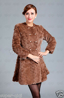 100% Real Genuine Rex Rabbit Fur Double-Breasted Long Coat Jacket sheared ladies