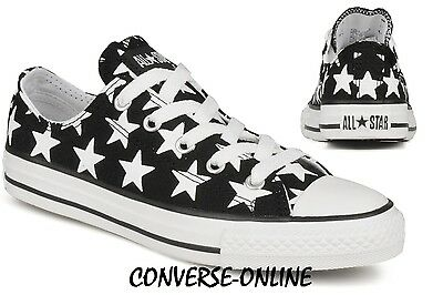 Older Boys Girls CONVERSE All Star BIG STAR Black White Trainers Shoes UK SIZE 3