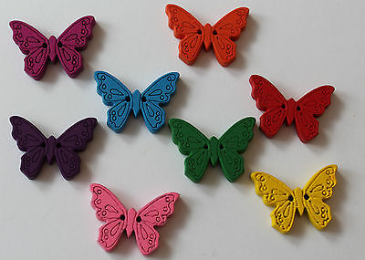 Pack of five wooden butterfly buttons. Two hole 22 mm lots of colours available.