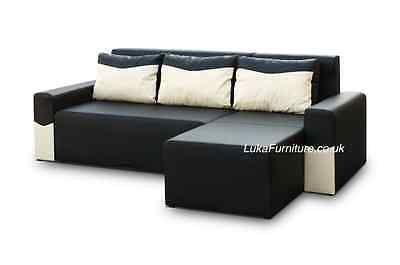 Corner Sofa Bed Black PETER- Brand New - Chep from PRODUCER - Faux leather