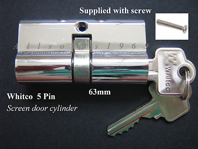 Security screen door lock cylinder * Whitco * 5 Pin supplied with 2 keys