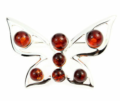 925 Sterling Silver & Baltic Amber Jewellery - AA803 - Designer Brooch