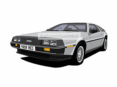 Delorean Car Art Print. Add Your Reg Plate