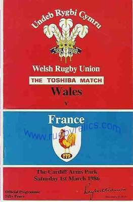 WALES v FRANCE 1986 RUGBY PROGRAMME 1 Mar at CARDIFF