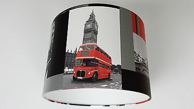 LONDON CITY RED BUS WALLPAPER LAMPSHADE(Black,Red Silver,White) Handmade.