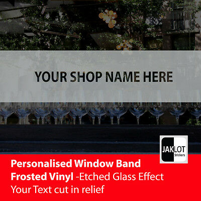 PERSONALISED TEXT ON FROSTED BAND - Crystal Window Film Vinyl Sticker - 5 sizes