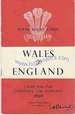 WALES v ENGLAND 1959 RUGBY PROGRAMME 17 Jan at CARDIFF