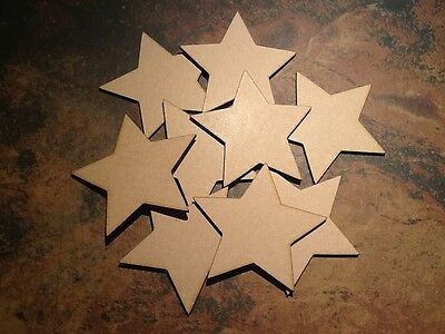10x Wooden Star Shapes MDF Craft 75mm //7.5cm laser cut embellishment tags 0059