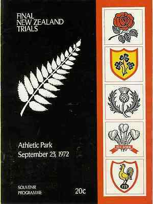 NZ ALL BLACKS RUGBY INTERNATIONAL TRIAL PROGRAMME 23 Sep 1972 at Wellington