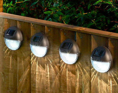 Round Solar Powered Garden Lights Bright White LED Fence Shed Wall Door Light