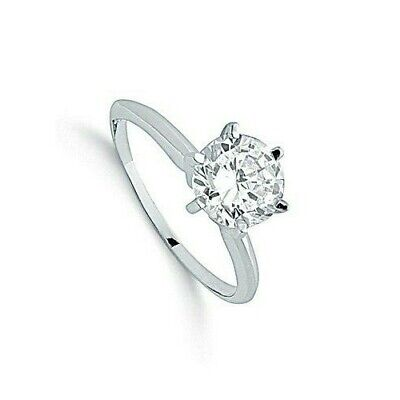 Solitaire Ring 1 Carat Ring Sterling Silver Engagement Ring Rhodium Plated