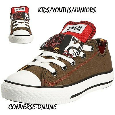KIDS Boys Girls CONVERSE All Star GREEN DOUBLE TONGUE OX Low Trainers SIZE UK 11
