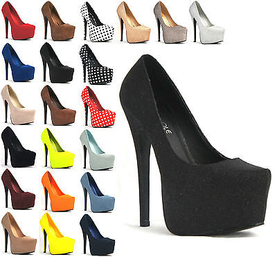 WOMENS LADIES PLATFORM STILETTO HEEL PARTY HIGH HEEL SHOES SIZE 3-8