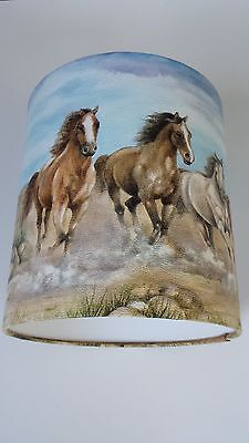"8""/20cm LAMPSHADE MADE FROM WILD HORSES WALLPAPER BODER."