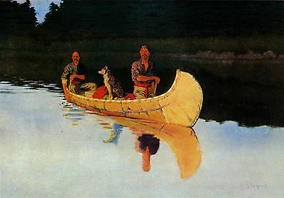 Frederic Remington An Evening on a Canadian Lake - Stretched Giclee Canvas Print