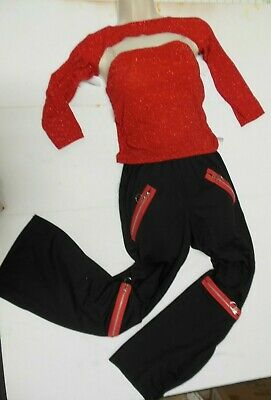 Nwt Red Glitter Tube Top Shrug  Black Pants Zipper Trim Hip Hop Dance Costume