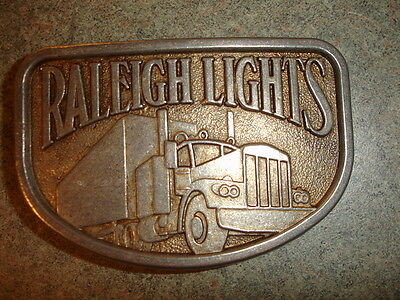 Old Vtg Antique Collectible Belt Buckle Raleigh Lights Tractor Trailer Truck
