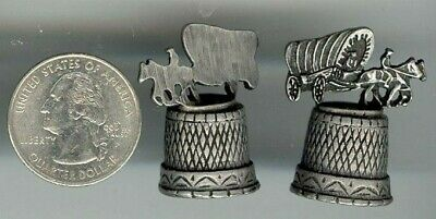 1 Vintage Genuine Pewter Covered Wagon &  Horses Thimble S472