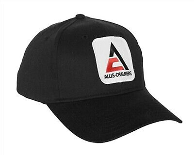 Allis Chalmers Tractor 6 Panel Black Hat - Cap Gift AC Fits Most