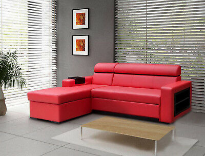 New Red Faux Leather Corner Sofa Becky - Chep from PRODUCENT - many colours -