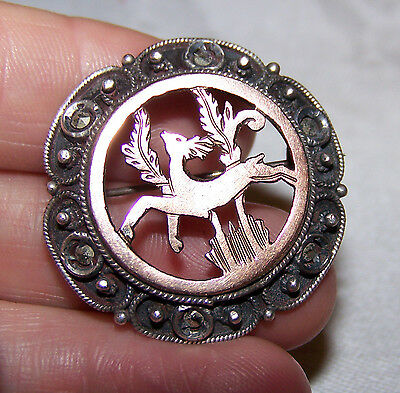 Antique Victorian Vtg Sterling Silver Marcasite & 10K Gold Leaping Deer Pin