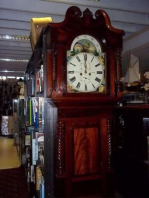 19th Century English Flame Mahogany 8 day Longcase Clock - Moon Phase