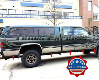 Made in USA Works with 1998-2001 Dodge Ram Club Cab 2 Door Short Bed Rocker Panel Trim Body Side Moulding 8.5 Wide 10PC