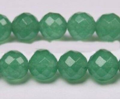 """14mm Natural Green Emerald Faceted Round Loose Beads Gemstone 15"""""""