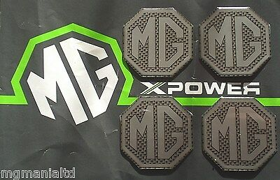 MGZS MG ZS  2x Front /& Rear 4x Centre Cap Black on Silver Badge Inserts New