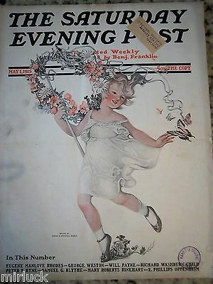 1915 Saturday Evening Post Sarah Stilwell Weber Cover Art Butterfly