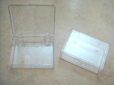"""Set of two new rigid clear plastic storage boxes 3 9/16"""" x 2 9/16"""" x 1 1/8"""""""