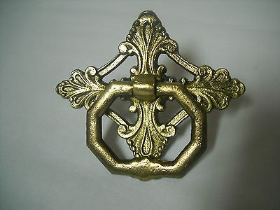 Single Screw Antique Cast Brass Drawer Pull Sewing Cabinet