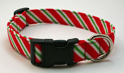 Holiday Candy Cane Diagonal Stripe Dog Collar Adjustable Handmade Custom