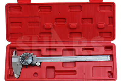 """8"""" DIAL CALIPER SHOCK PROOF .001"""" STAINLESS 4 WAY BLACK FACE + Inspection Report"""