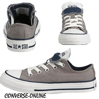 KIDS BOYS GIRL CONVERSE All Star GREY DOUBLE TONGUE Low