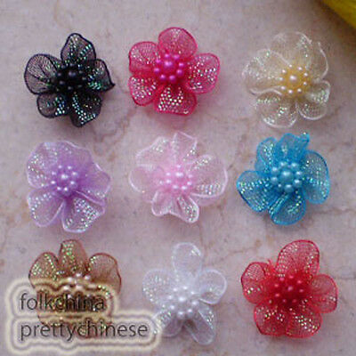 Mixed Hard Organza Flower With Beads Sewing Scrapbooking Appliques Trims JMOG