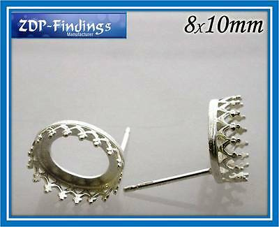 2Pairs(4) Quality Cast Sterling Silver 925 Bezel Post 10x8mm included ear back