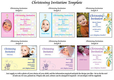 Christening Invites 50  personalised with photo/  Birthday invites available