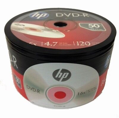 50-Pack HP 16X Logo Blank DVD-R DVDR Recordable Disc Media 4.7GB Shrink Wrapped