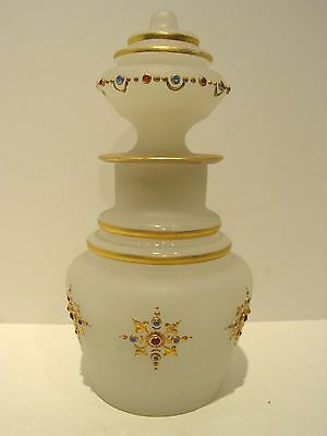 Bohemian Jeweled Satin Glass Tea Caddy Made for Middle Eastern Market, Ca.1890's