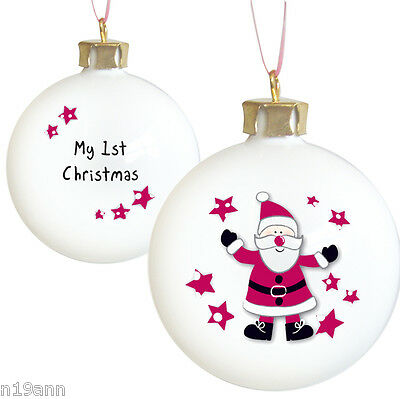 New Georgeous Cute Spotty Santa My First Christmas Bauble Gift