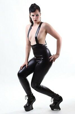 Sexy Shiny Leder Latex Lack Träger Catsuit Domina Fetisch Clubwear