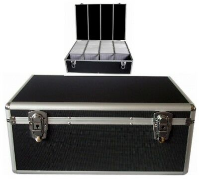 [SCHWARZ] 1000 er DJ KOFFER CD/DVD/BLURAY CASE BOX MIT SLEEVES/HÜLLEN ALU LOOK