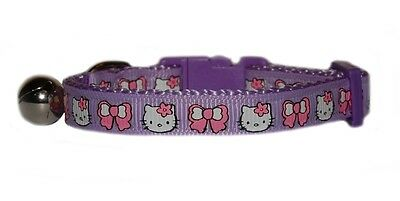 "purple & pink bows  hello kitty  kitten safety  collar  5""-7"""