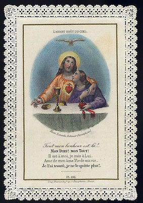 Santino Canivet Laced Holy Card Sacro Cuore Gesu Letaille Pl. 196