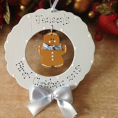 Personalised My First 1st Christmas Tree Decoration Gingerbread Ornament Gift